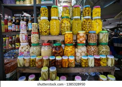 Pasar Siti Khadijah,Kelantan.Malaysia. Taken on 20 April 2019. Many local fruit Pickled selling on stall in Khadijah Market.