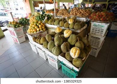 Pasar Siti Khadijah,Kelantan.Malaysia. Taken on 20 April 2019. Local friut.Durian selling at stall.