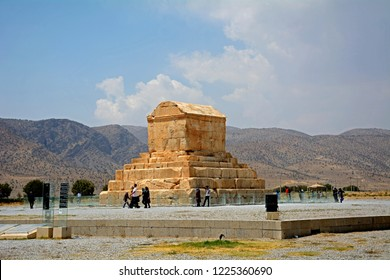PASARGADAE, IRAN - SEPTEMBER 5: Tomb of Cyrus, the Great at 5 September, 2018 at Pasargadae, Iran. Cyrus was the founder of the Achaemenid Empire.