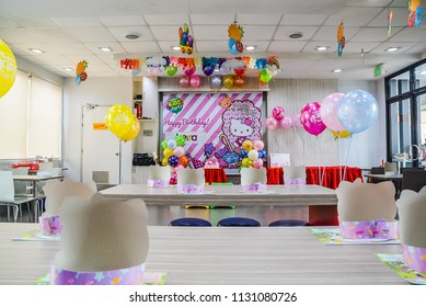 Pasay City, Metro Manila / Philippines - February 26, 2018: Children's Birthday party celebration in a fast food restaurant