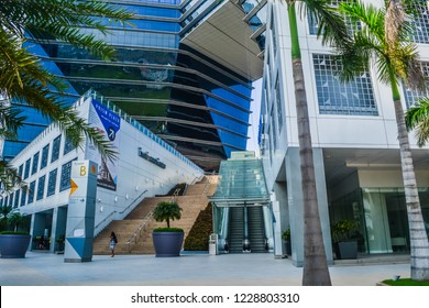 Pasay City, Metro Manila / Philippines - September 23, 2018: The Prism Building at SM Mall of Asia in Pasay City, Philippines