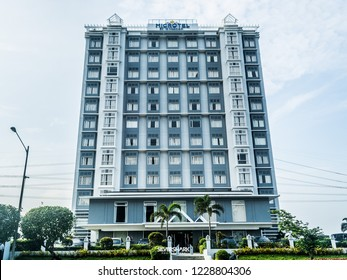 Pasay City, Metro Manila / Philippines - September 23, 2018: the Microtel building at the SM Mall of Asia in Pasay City, Philippines