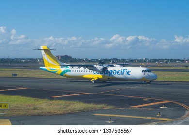 Pasay City, Philippines March 2, 2019 cebu pacific Airlines plane take off from Ninoy Aquino International Airport (NAIA)