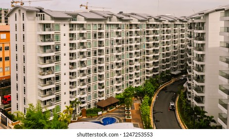 Pasay City, Philippines - May 26, 2016: Architecture: Modern Condominium complex, Pasay City, Philippines.