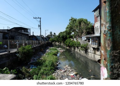 Pasay, Manila/Philipines - March 19 2018: Polluted Canal in Manila