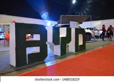 PASAY, PH - AUG. 17: BYD exhibit booth letter signage on August 17, 2018 at Transport and Logistics in World Trade Center Metro Manila, Pasay, Philippines.
