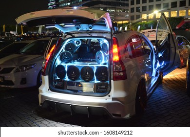 PASAY, PH - DEC. 7: Customized sound system of Honda CRV suv at Bumper to Bumper 15 car show on December 7, 2019 in Mall of Asia Concert Grounds, Pasay, Philippines.
