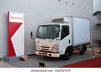 PASAY, PH - JULY 26: Isuzu NLR 85 refrigeration truck on July 26, 2019 at Phil Bus and Truck Show 2019 in SMX Convention Center Pasay, Philippines.