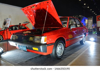 PASAY, PH - JULY 27: Mitsubishi Lancer at Philippine Autocon and Bumper to Bumper Prime on July 27, 2019 in World Trade Center Metro Manila, Pasay, Philippines.
