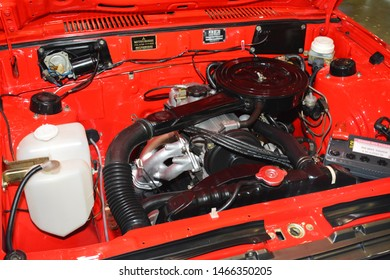 PASAY, PH - JULY 27: Mitsubishi Lancer car engine at Philippine Autocon and Bumper to Bumper Prime on July 27, 2019 in World Trade Center Metro Manila, Pasay, Philippines.