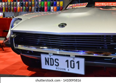 PASAY, PH – MAY 25: 1972 Datsun 240Z at 28th Trans Sport Show at SMX Convention Center on May 25, 2019 in Pasay, Philippines.