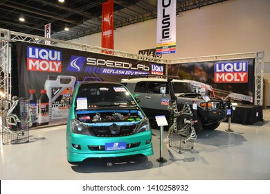 PASAY, PH – MAY 25: Liqui Moly - Speedlab exhibit booth with Toyota Innova and FJ Cruiser vehicles at 28th Trans Sport Show at SMX Convention Center on May 25, 2019 in Pasay, Philippines.