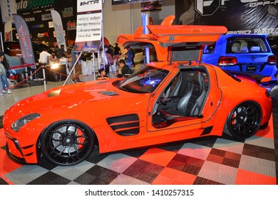 PASAY, PH - MAY 25: Red 2013 Mercedes Benz SLS AMG at 28th Trans Sport Show on May 25, 2019 in SMX Convention Center, Pasay, Philippines.