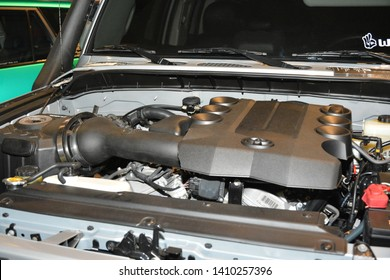 PASAY, PH – MAY 25: Toyota FJ Cruiser engine at 28th Trans Sport Show at SMX Convention Center on May 25, 2019 in Pasay, Philippines.