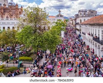 Pase de Nino parade , Cuenca, Ecuador, Dec 24, 2017 - Drone image shows parade crowds from above