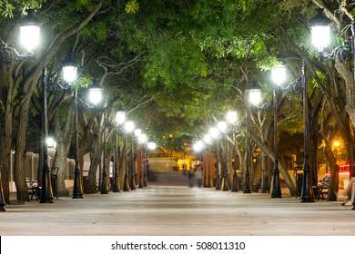 Paseo de la Princesa in old San Juan, Puerto Rico, with lanterns at night