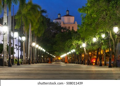 Paseo de la Princesa in old San Juan, Puerto Rico, at dusk
