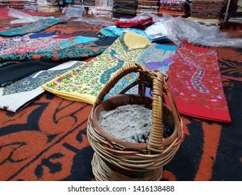 Pashmina and salwar suit shop in floating market at Dal Lake Kashmir