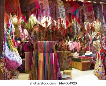 Pashmina shop selling many different scarves. This is a classic Oriental shop.