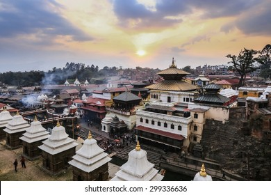 Pashupatinath Temple and the Burning Ghats in Kathmandu during sunset