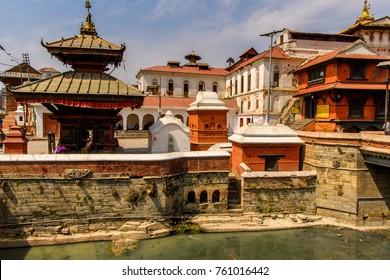 Pashupatinath Temple, a famous, sacred Hindu temple, Bagmati River, Kathmandu, capital of Nepal. UNESCO World Heritage Sites'
