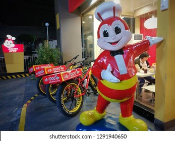 "Pasig City, Philippines- January 15,2018: Jollibee Fast food Restaurant are now Using Fat Bike ""Bicycle"" for delivering their meals nearby"