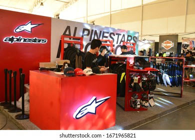 PASIG, PH - MAR. 7: Alpinestars motorcycle protection wears booth at 2nd Ride Ph on March 7, 2020 in Pasig, Philippines. Ride Ph is a motorcycle exhibit in the Philippines.