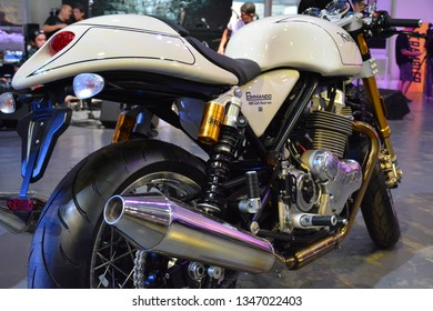 PASIG, PH - MAR. 9: Norton Commando motorcycle at Ride Ph Cafe on March 9, 2019 in Pasig, Philippines. Ride Ph Cafe is a motorcycle exhibit in the Philippines.