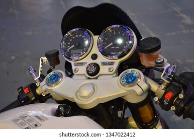 PASIG, PH - MAR. 9: Norton Commando motorcycle speedometer at Ride Ph Cafe on March 9, 2019 in Pasig, Philippines. Ride Ph Cafe is a motorcycle exhibit in the Philippines.
