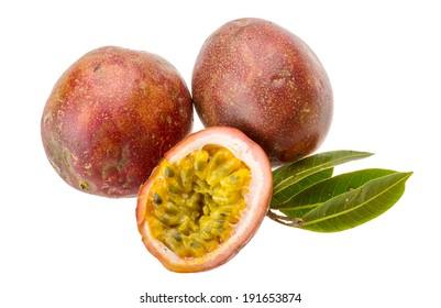 Pasion fruit - maracuya sliced with leaves