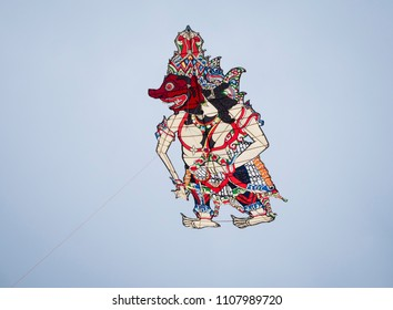 Pasir Gudang, Malaysia - March 1, 2018: Kite with traditional Indonesian pattern flying at the Pasir Gudang World Kite Festival in the Johor State of Malaysia.