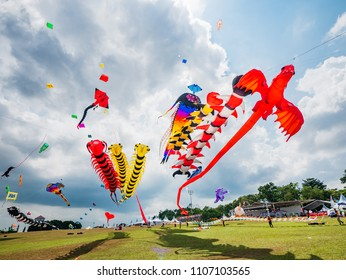 Pasir Gudang, Malaysia - March 3, 2018: Large kites flying at the Pasir Gudang World Kite Festival in the Johor State of Malaysia.
