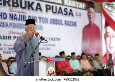 Pasir Puteh, Kelantan - 19th June 2016 : The Prime Minister of Malaysia, Dato' Seri Najib Tun Razak giving a speech at an Iftar or Breaking Fast event in Pasir Puteh.