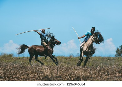 Pasola conceptual photo taken in Wanokaka Hill in Sumba, Indonesia in September 13, 2016. Pasola is a mounted spear-fighting competition from western Sumba, Indonesia.