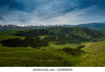 Pass in the Almaty Mountains, Plateau Assy, near Almaty city, Kazakhstan