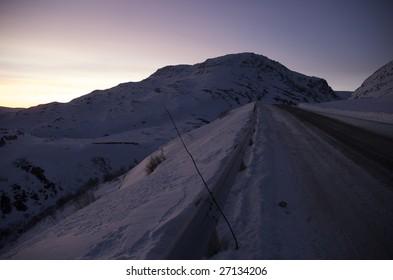 Pass over Iifjord mountains in Northen Norway