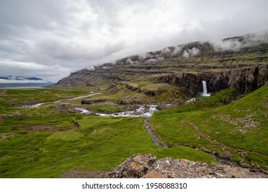 Öxi Pass overlooking Folaldafoss at Noon