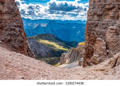 Pass Pordoi in the Dolomites alps with view to the valley.