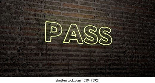 PASS -Realistic Neon Sign on Brick Wall background - 3D rendered royalty free stock image. Can be used for online banner ads and direct mailers.