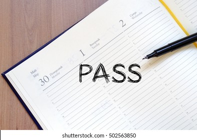 Pass text concept write on notebook