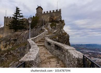 Pass of the witches in Republic of San Marino (Passo delle streghe, Monte Titano) Repubblica di San Marino (Titano mountain)
