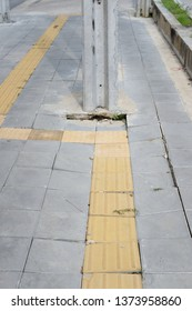 The passage of the Blind Pedestrian paths with subsidence at Bangkok, Thailand.