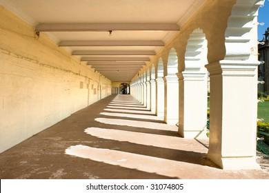 The passage of the famous Mysore Palace, Mysore, Karnataka, India