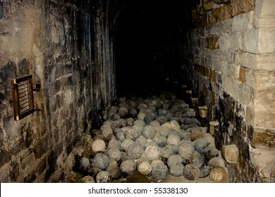 Passage filled with canonballs at Koules Venetian Fortress in Heraklion city, Crete, Greece