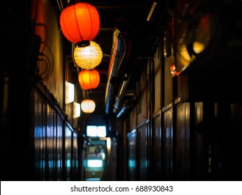 passage with lanterns in Kyoto