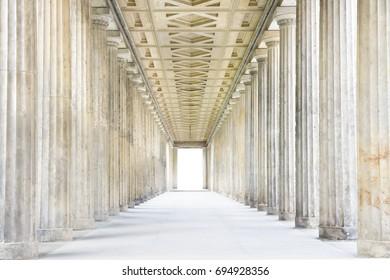 A passage of Roman stone columns