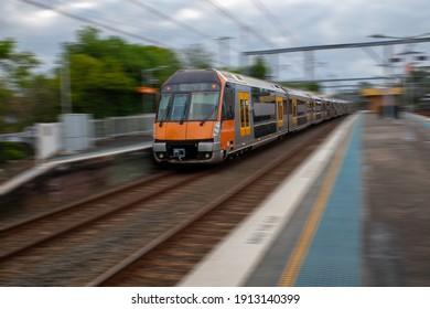 Passages Train going through Summer Hill Station NSW Australia
