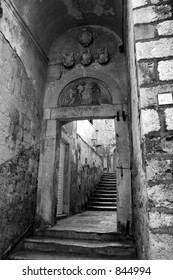Passageway in Dubrovnik, Croatia.  Black and white.