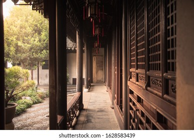 The passageway at Garden of Cultivation(Yi Pu) is a classical garden in Suzhou,Jiangsu,China.Bulit on 1541 is part of the UNESCO World Heritage Site Classical Gardens on the World Heritage List.