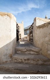 A passageway on the roof of an old house in the Middle-East.